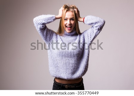 Happy Young Beautiful girl. Emotions of happiness. On the white background.