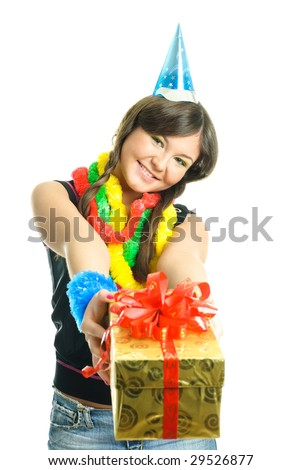 happy young beautiful girl giving a birthday present to us - stock photo
