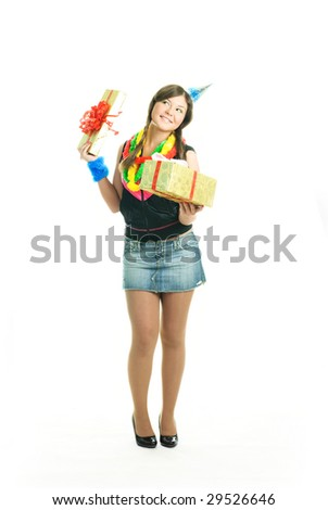 happy young beautiful girl with a present in her hands celebrating her birthday - stock photo