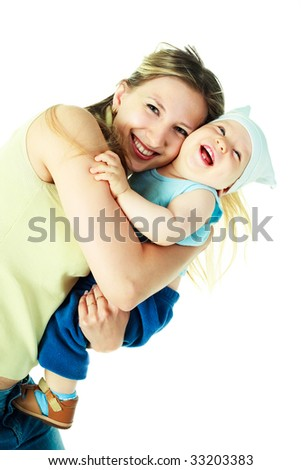 happy young beautiful mother with her baby - stock photo