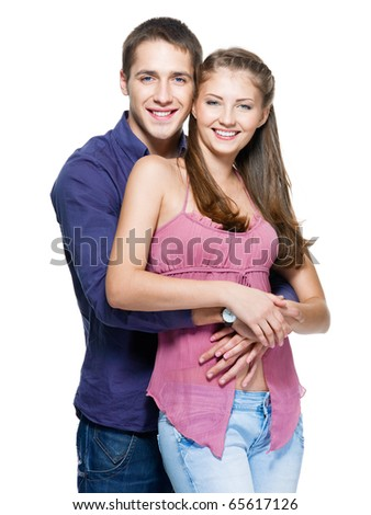 happy young beautiful smiling couple - isolated - stock photo