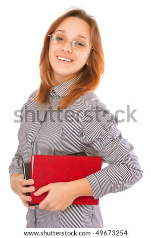 Happy young beautiful student holding books, isolated on white background. - stock photo