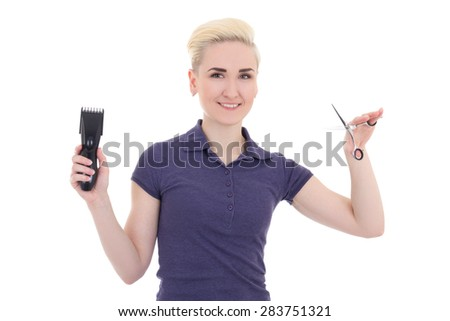 happy young beautiful woman hair stylist with hair trimmer and scissors isolated on white background - stock photo