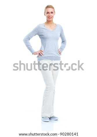 Happy young beautiful woman. Isolated over white background. - stock photo