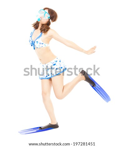 happy young bikini woman make a pose with a scuba equipment - stock photo