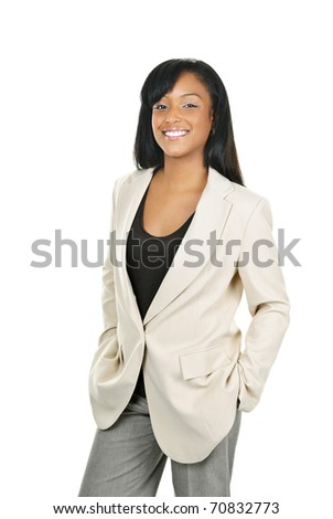 Happy young black businesswoman standing isolated on white background - stock photo