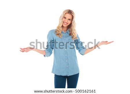 happy young blonde casual woman welcoming you , isolated on white background