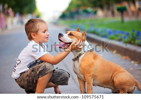 Happy young Boy and his dog in summer street - stock photo