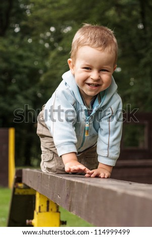Happy young boy crawling on the ladder in the park