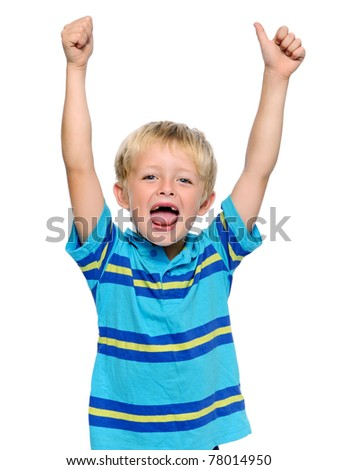 Happy young boy has his thumbs up - stock photo