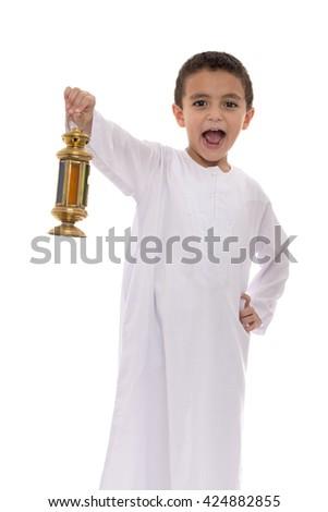 Happy Young Boy Holding Lantern Celebrating Ramadan Isolated on White Background - stock photo