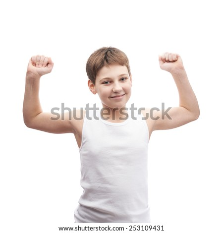 Happy young boy in a sleeveless white shirt stretch himself after sleep, composition isolated over the white background - stock photo