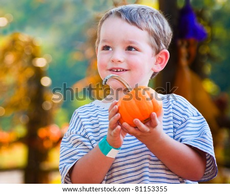 Happy young boy picking a pumpkin for Halloween - stock photo