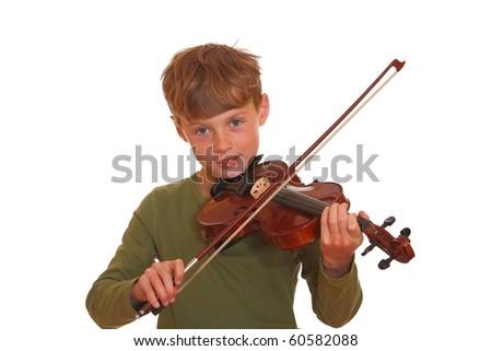 Happy young boy plays his violin - stock photo