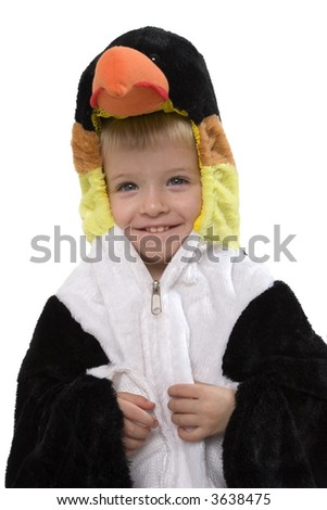 Happy young boy with penguin costume