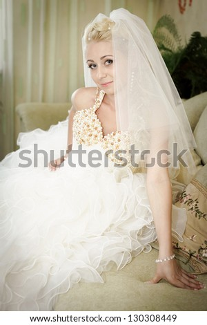 Happy young bride on her wedding day - Copyspace. Wedding couple - new family! wedding dress. Bridal wedding bouquet of flowers