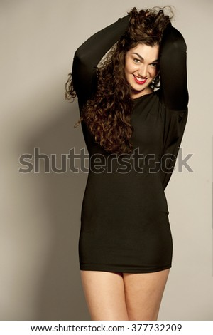 Happy Young Brunette - stock photo