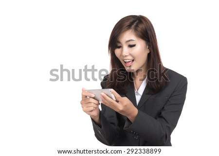 Happy young business asian woman smiling,laughing on smart phone with blank copyspace for text,Portrait of beautiful Asian woman,Thai girl,Positive emotion  expression,isolated on white background - stock photo