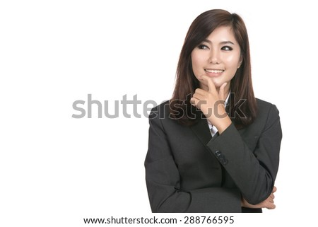 Happy young business asian woman thinking with blank copyspace area for text,Closeup portrait of beautiful Asian woman,Thai girl,Positive human emotion facial expression,isolated on white background - stock photo