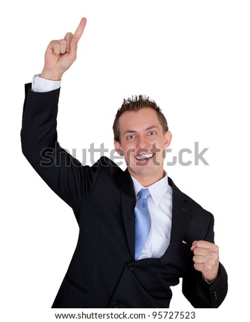 happy young business man isolated on a white background
