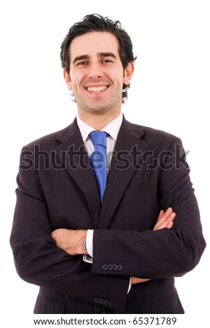Happy young business man isolated on white background - stock photo