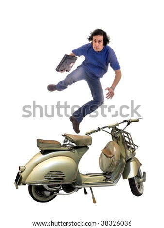 Happy young business man jumping as concept for success. - stock photo