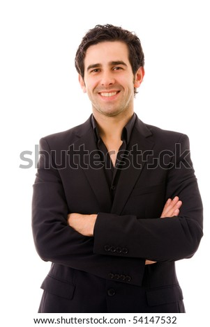 Happy young business man portrait isolated on white - stock photo