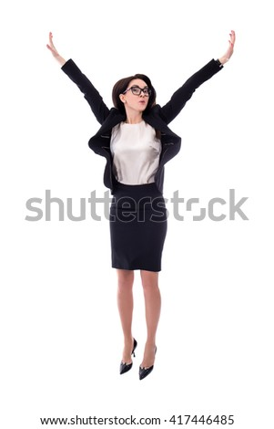 happy young business woman jumping isolated on white background - stock photo