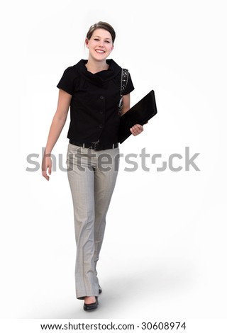 Happy young business woman on white background - stock photo