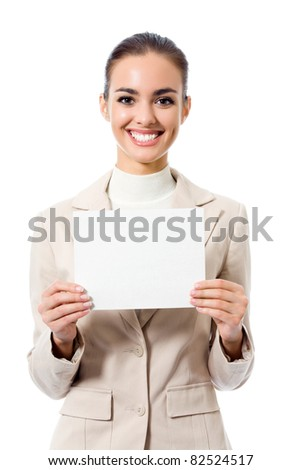 Happy young business woman showing blank signboard, isolated on white background
