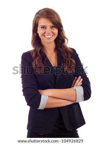 Happy young business woman standing with hands folded isolated over white background - stock photo
