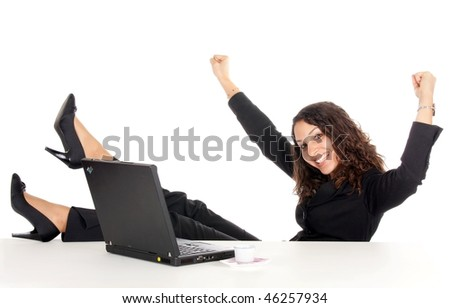 happy young business woman with laptop woman celebrate success