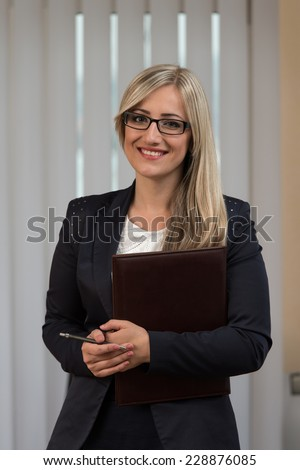 Happy Young Business Woman Work In Modern Office