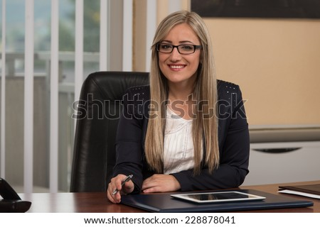 Happy Young Business Woman Work In Modern Office On Computer - stock photo