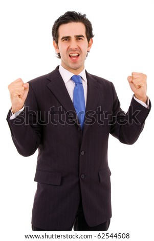Happy young businessman expressing success and victory, isolated on white - stock photo