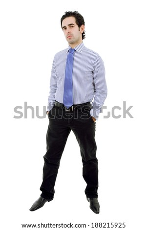 happy young businessman full length, isolated on white - stock photo