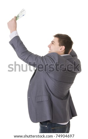 Happy Young Businessman Holding Money