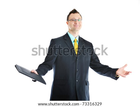 happy young businessman in business suit  portrait isolated on white background