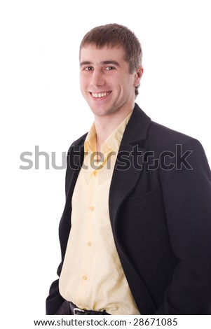 Happy young businessman smiling isolated over white - stock photo