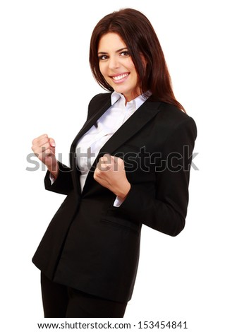Happy young businesswoman isolated on white - stock photo