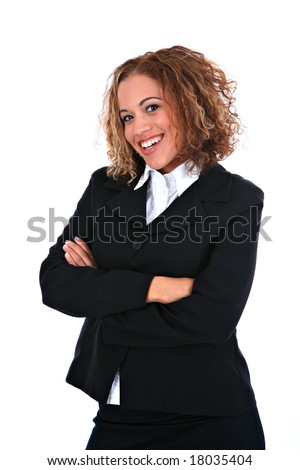 Happy Young Businesswoman Portrait Standing on Isolated Background