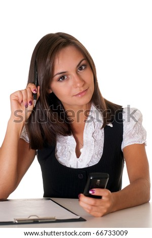 happy young businesswoman sit on a white background