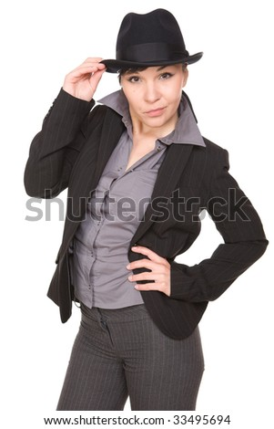 happy young businesswoman with hat