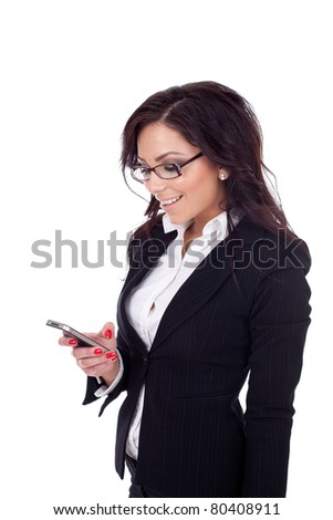 happy young bussiness woman texting a message, isolated