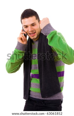Happy young casual man on the phone, isolated on white - stock photo