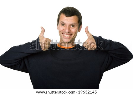happy young casual man portrait in a white background