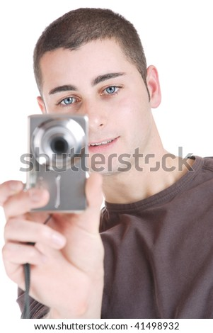 happy young casual man portrait, isolated on white - stock photo