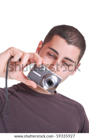 happy young casual man taking pictures , isolated on white - stock photo