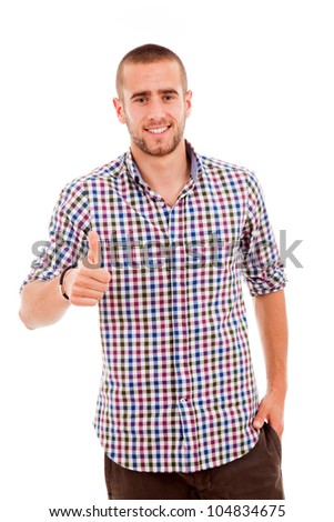 Happy young casual man thumbs up, isolated on white
