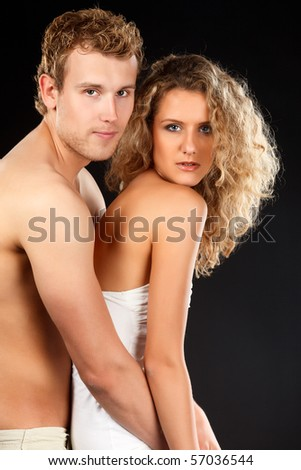 Happy young caucasian couple in romance.